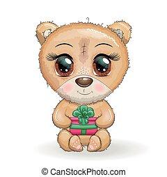 cute, seu, grande, patas brancas, presente, natal, fundo, designs., caricatura, urso, olhos