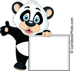 cute, sinal, segurando, em branco, bebê, panda