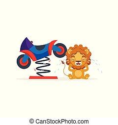 cute, sobre, personagem, ilustração, quebrada, leão, vetorial, motocicleta, chorando