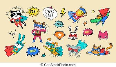 cute, superhero, animais, mão, vetorial, caráteres, desenhado