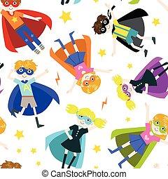 cute, superhero, padrão, meninas, seamless, ilustração, meninos, vetorial