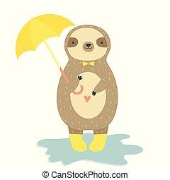 cute, umbrella., engraçado, preguiça, amarela, botas, segurando