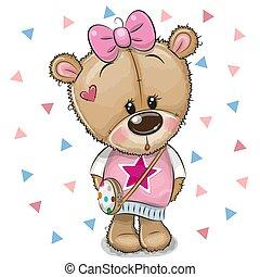 cute, urso teddy, arco, fundo, branca