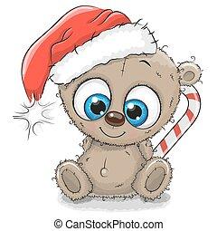 cute, urso teddy, chapéu santa, caricatura