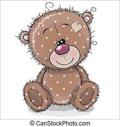 cute, urso teddy, fundo, branca, caricatura