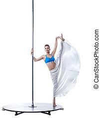 cute, vertical, dançarino, posar, divisão, pylon