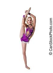 cute, vertical, ginasta, posar, divisão, femininas