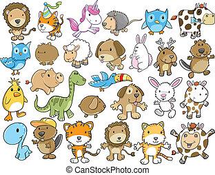 cute, vetorial, jogo, animal, ilustração