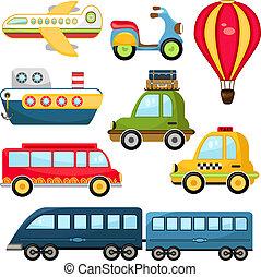 cute, vetorial, transporte
