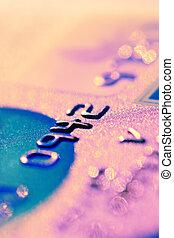 dígitos, raso, dof, crédito, close-up., cartão