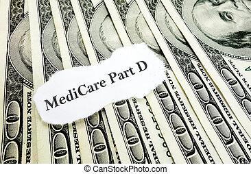 d, dinheiro, parte, medicare