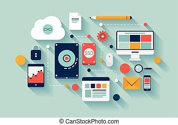 dados, ilustração, conceito, armazenamento