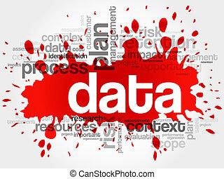 dados, palavra, nuvem