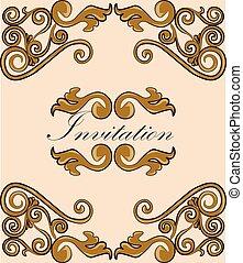 damasco, ornamento, ouro, convite