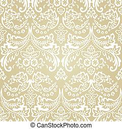 damasco, vindima, seamless, experiência., padrão, floral