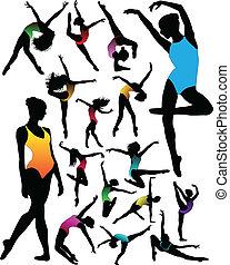 dança, balé, silhuetas, jogo, menina