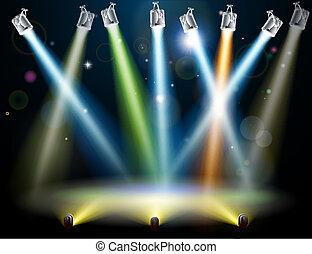 dança, luzes, chão, ou, fase
