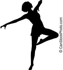 dança, mulher, silueta