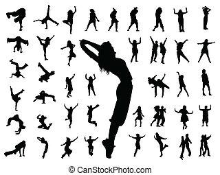 dança, pular, silueta, pessoas