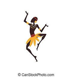 dançar, dançarino, africano, ilustração, tradicional, aboriginal, vetorial, étnico, macho, roupa, homem