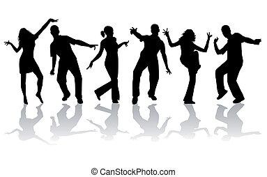 dançar, silhuetas, -, cobrança, grande
