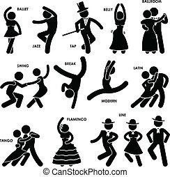 dançarino, dançar, pictograma