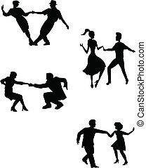 dançarinos, pensar, balanço