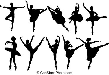 dançarinos, silhuetas, balé
