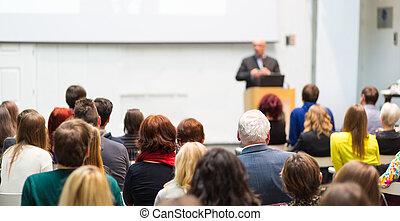 dar, converse negócio, event., orador público