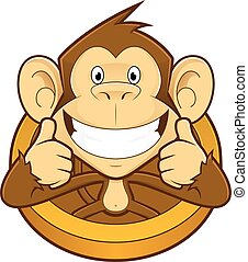 dar, dois, cima, macaco, polegares