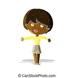 dar, mulher, polegares cima, caricatura
