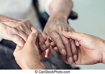 daughter., mental, mãos cima, idoso, ajudando, conceito, saúde, mãe, fim, lar, care., cuidado