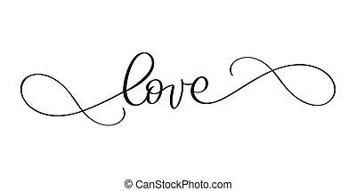 day., amor, illustration., valentine, modernos, isolado, postcard., calligraphy., vetorial, escova, fundo, tinta, frase, tu, caligrafia, branca