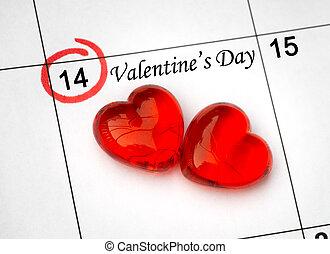 day., página, calendário, corações, 14, são, vermelho, valentines, fevereiro