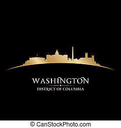 dc, experiência preta, skyline, cidade, silhueta washington
