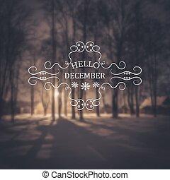 december., olá, fundo, inverno