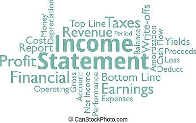 declaração, palavras, renda