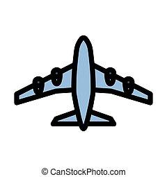 decolagem, ícone, avião