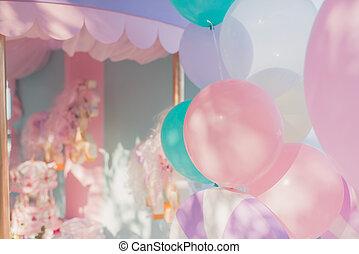 decoração, aniversário, balões