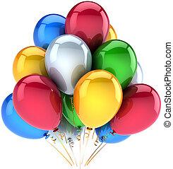 decoração, aniversário, balões, feliz