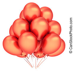decoração, aniversário, laranja, partido, balões, vermelho, feliz