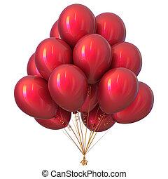 decoração, aniversário, lustroso, partido, balões, vermelho, feliz