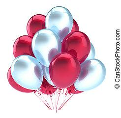 decoração, aniversário, lustroso, partido, branca, balões, vermelho, feliz
