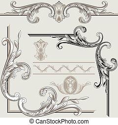 decoração, elementos, clássicas