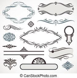 decoração, elementos, &, vetorial, desenho, página