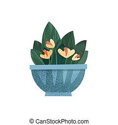 decoração, escritório, houseplant, ilustração, ou, elegante, vetorial, fundo, lar, branca, pote, florescendo