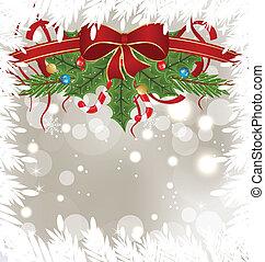 decoração, feriado, gelado, cartão, natal