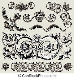 decoração, floral, jogo, elementos, clássicas