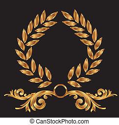 decoração, grinalda loureiro, ouro
