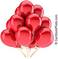 decoração, hélio, balões, vermelho